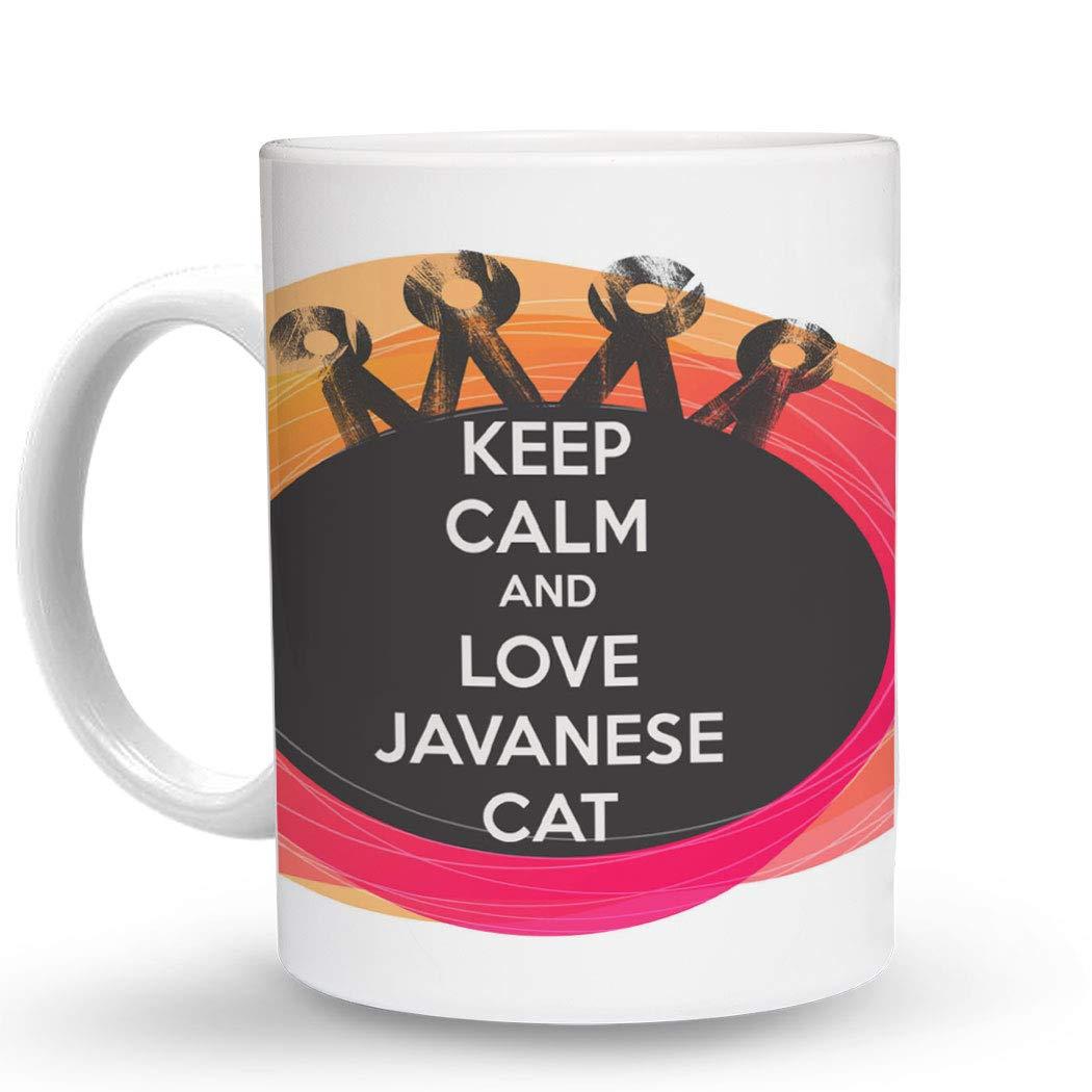 Amazon com makoroni keep calm and love javanese cat 11 oz unique coffee mug coffee cup kitchen dining