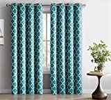 Teal Curtains HLC.ME Lattice Print Thermal Insulated Blackout Window Curtain Panels, Pair, Chrome Grommet Top, Teal Blue