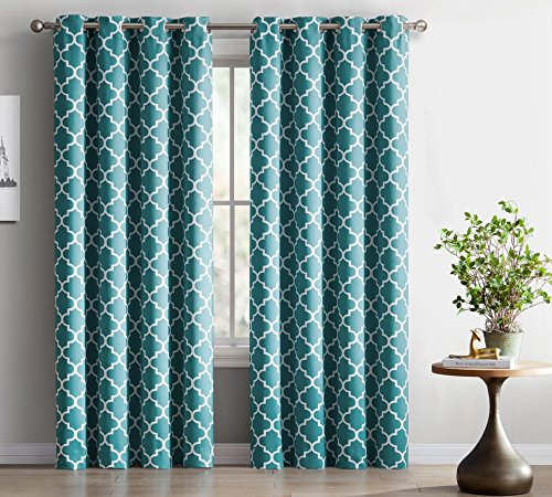 HLC.ME Lattice Print Thermal Insulated Blackout Curtains Drapes - Teal Blue - 52