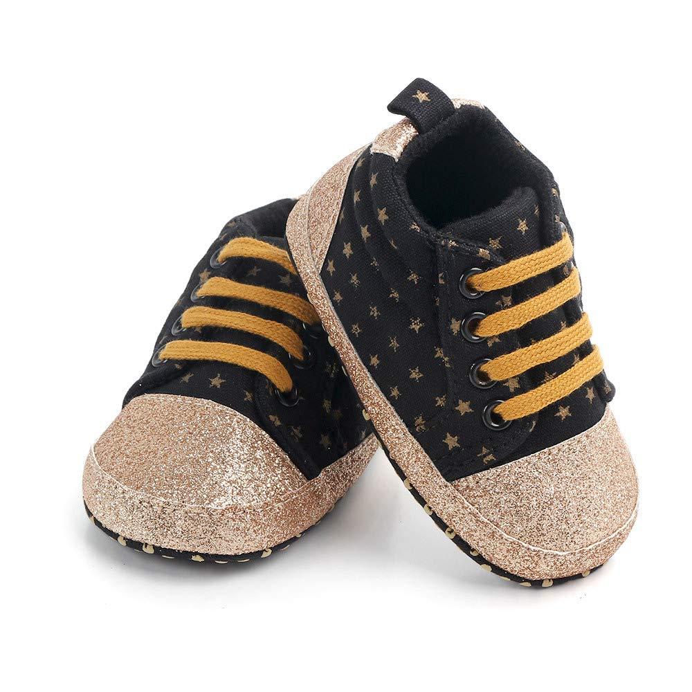 Kuner Infant Baby Canvas Shoes Pentagram Glitter Soft Bottom Non-Slip First Walkers Shoes for Boys Girls 0-18Months