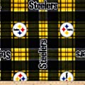 NFL Pittsburgh Steelers Plaid Fleece Black/Yellow Fabric By The Yard