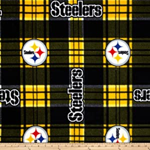 NFL Pittsburgh Steelers Plaid Fleece Black/Yellow Fabric By The Yard at Steeler Mania