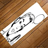VROSELV Custom Towel Soft and Comfortable Beach Towel-pop art woman holding a mirror Design Hand Towel Bath Towels For Home Outdoor Travel Use 27.6''x13.8''