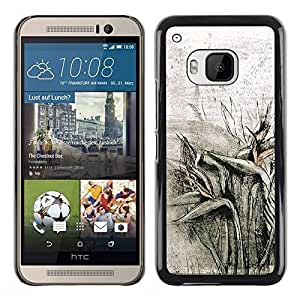 Paccase / SLIM PC / Aliminium Casa Carcasa Funda Case Cover - Field Plants Pencil Drawing - HTC One M9