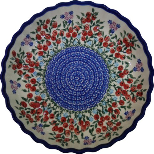 Polish Pottery Blue Art - Polish Pottery Ceramika Boleslawiec 1212/282 Royal Blue Patterns 4-Cup 9-7/8-Inch Diameter Pie Baker, Small, Red Berries and Daisies