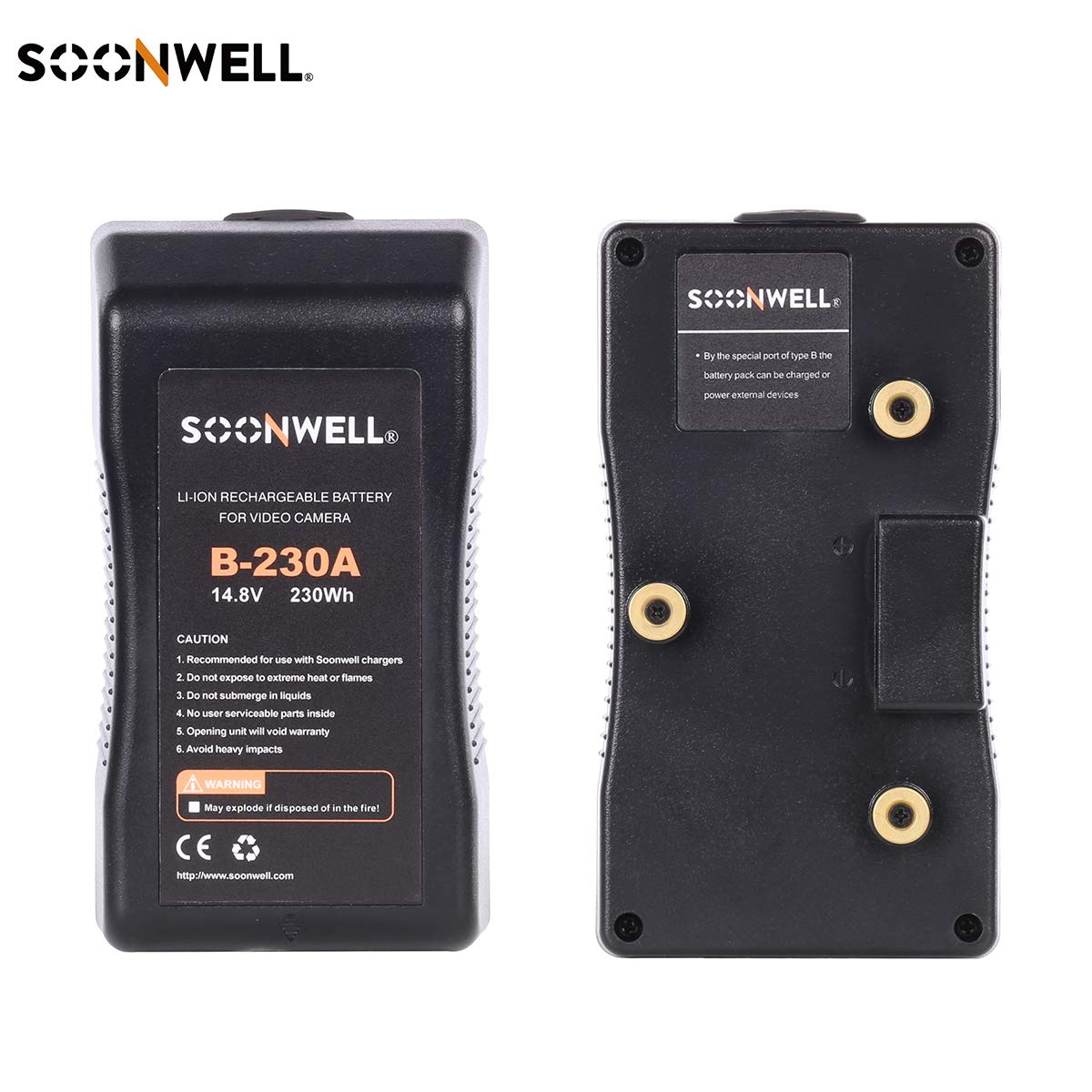 SOONWELL 230Wh 14.8V Anton Bauer Mount Li-ion Battery Rechargeable A Mount Spare Battery DSLR Camera, LED Light, Monitor by SOONWELL