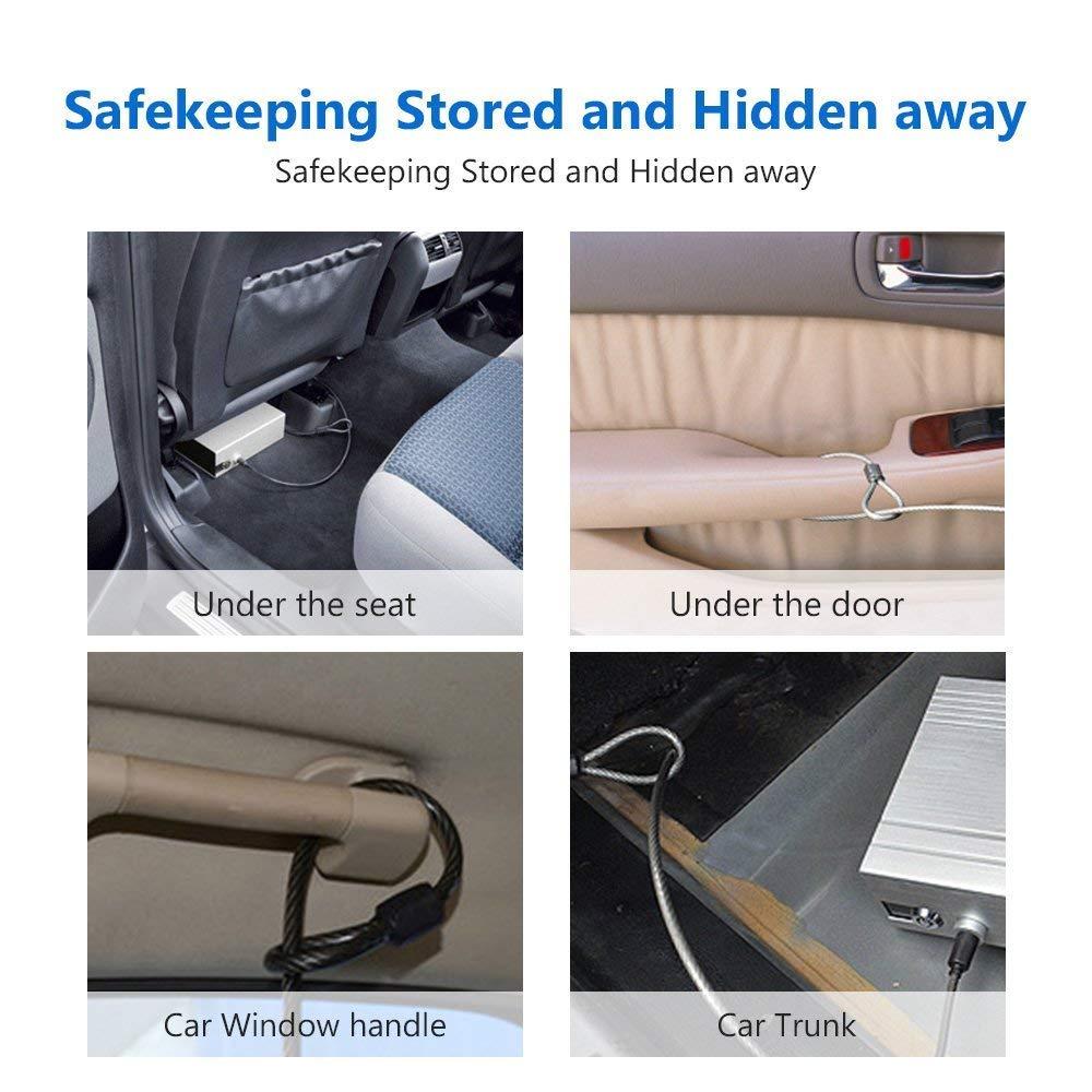Pujuas Auto Tresor Schwarz tragbare Schl/üssel Safe sicher Box Sicherheitsschl/össer mit Stahlseil