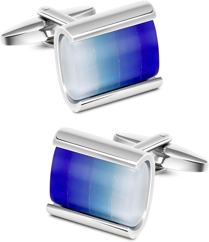 VIILOCK Rectangular Sea Blue Gradient Opal Cufflinks for Men Business Wedding Gift Cuff-Links Mens