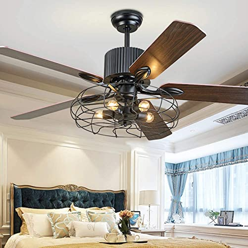 BIGBANBAN Industrial Cage Ceiling Fans with Remote,52 Inch Fan Chandelier with 5 Wood Reversible Blade,Silent Indoor Fan Light Black