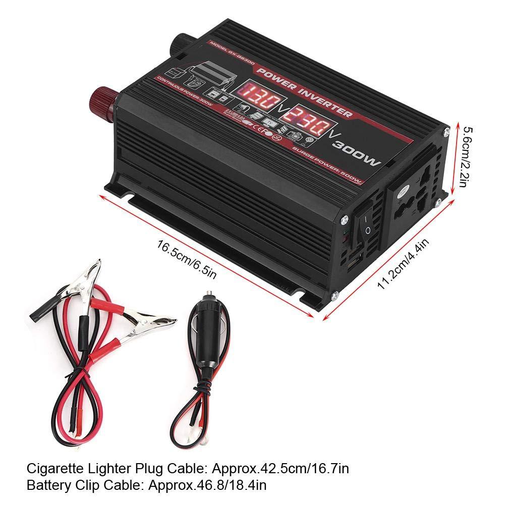 LED Display Design Inverter,300W DC 12V to AC 110V LED Auto Power Converter Transformer Dual USB Inverter Dual USB Port for Fast Charging Black