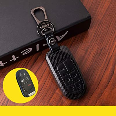 WFMJ for Dodge Challenger Dodge Charger Dart Durango Journey Jeep Grand Cherokee Black Leather Buttons Paint Plastic Remote Smart 5 Buttons Key Case Cover Holder Fob: Automotive [5Bkhe0806127]