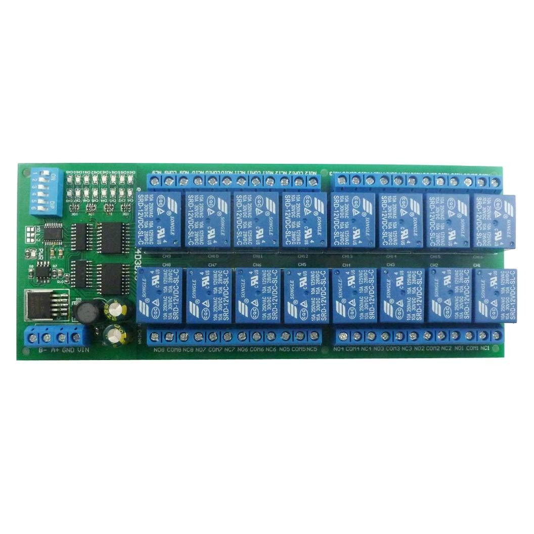 16 Channel Relay Module DC 12V MODBUS RTU RS485 Relay Module Board PLC Serial