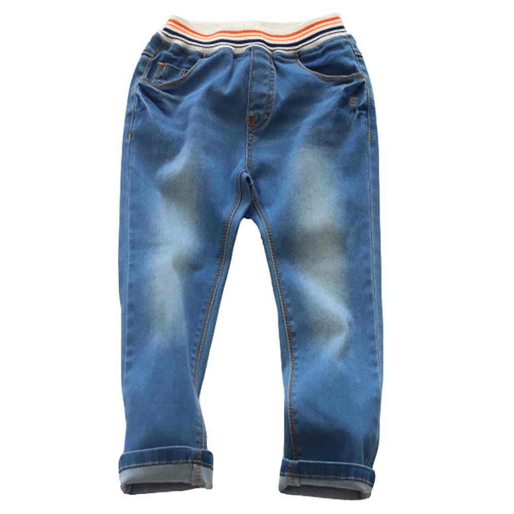 Abalacoco Boys' Kids Jeans Cotton Pull-On Denim Pants Stretch Waist Daily Wear Trousers (11-12 Years, Blue)