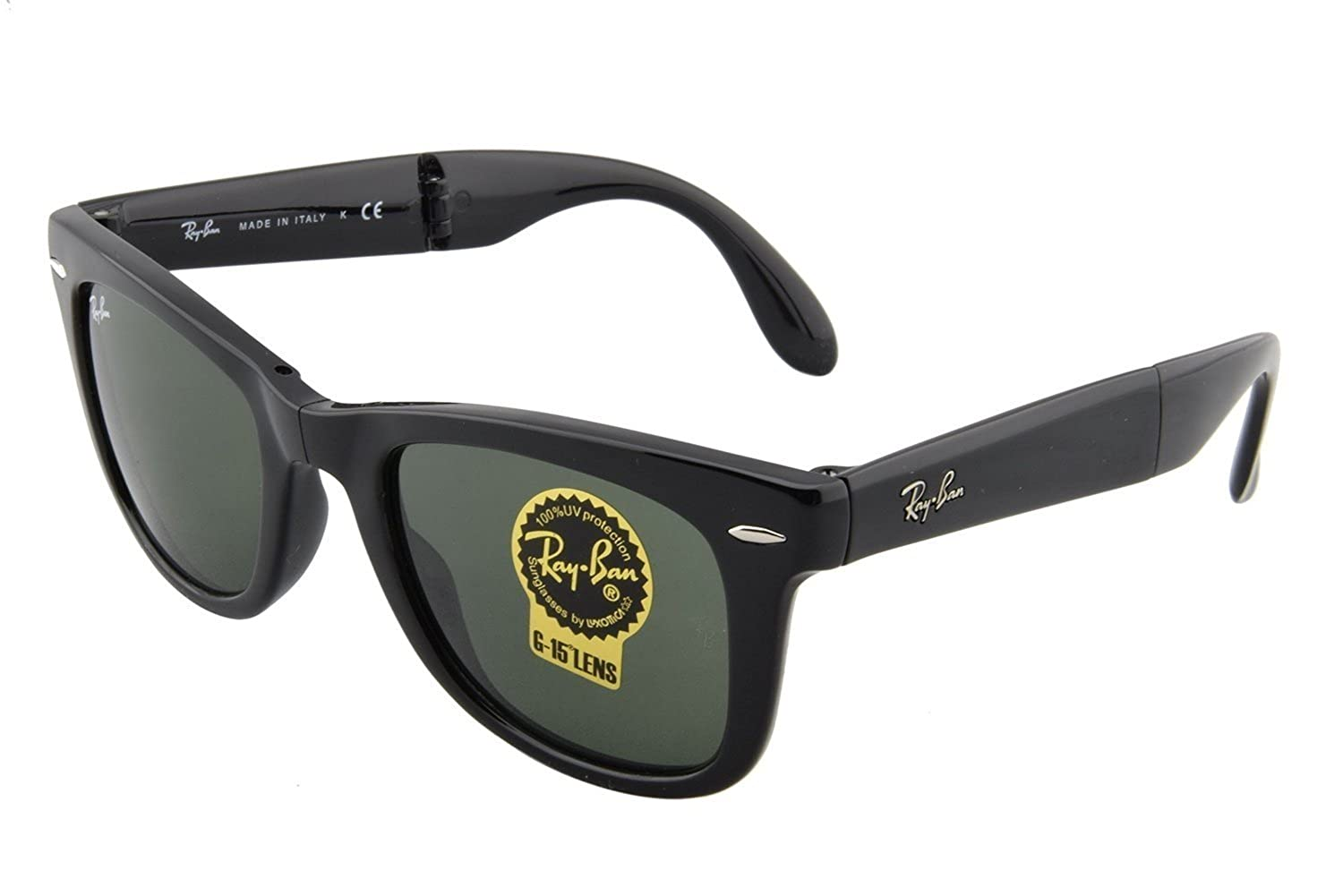 9574a361727d Amazon.com: New Authentic Ray-Ban RB 4105 601 54mm Wayfarer Folding Black  with green G-15: Shoes