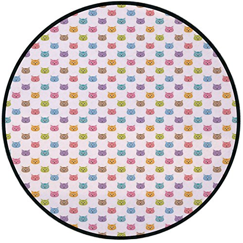 - Printing Round Rug,Cat,Colorful Pattern of Faces Kids Boys Girls Nursery Design Domestic Lovely Pets Meow Decorative Mat Non-Slip Soft Entrance Mat Door Floor Rug Area Rug For Chair Living Room,Multic