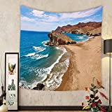 Gzhihine Custom tapestry Landscape Tapestry Ocean View Tranquil Beach Cabo De Gata Spain Coastal Photo Scenic Summer Scenery for Bedroom Living Room Dorm Blue Brown