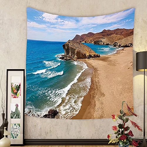 Gzhihine Custom tapestry Landscape Tapestry Ocean View Tranquil Beach Cabo De Gata Spain Coastal Photo Scenic Summer Scenery for Bedroom Living Room Dorm Blue Brown by Gzhihine