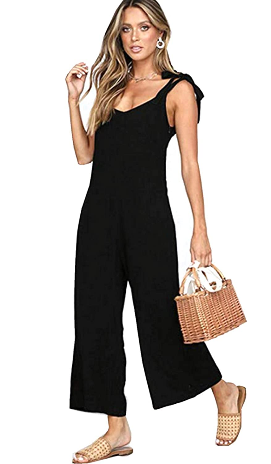 e9881fbacc3 Amazon.com  Asskdan Women s Linen Sleeveless Jumpsuits Wide Leg Long Pants  Backless Jumpsuit Rompers with Pockets  Clothing