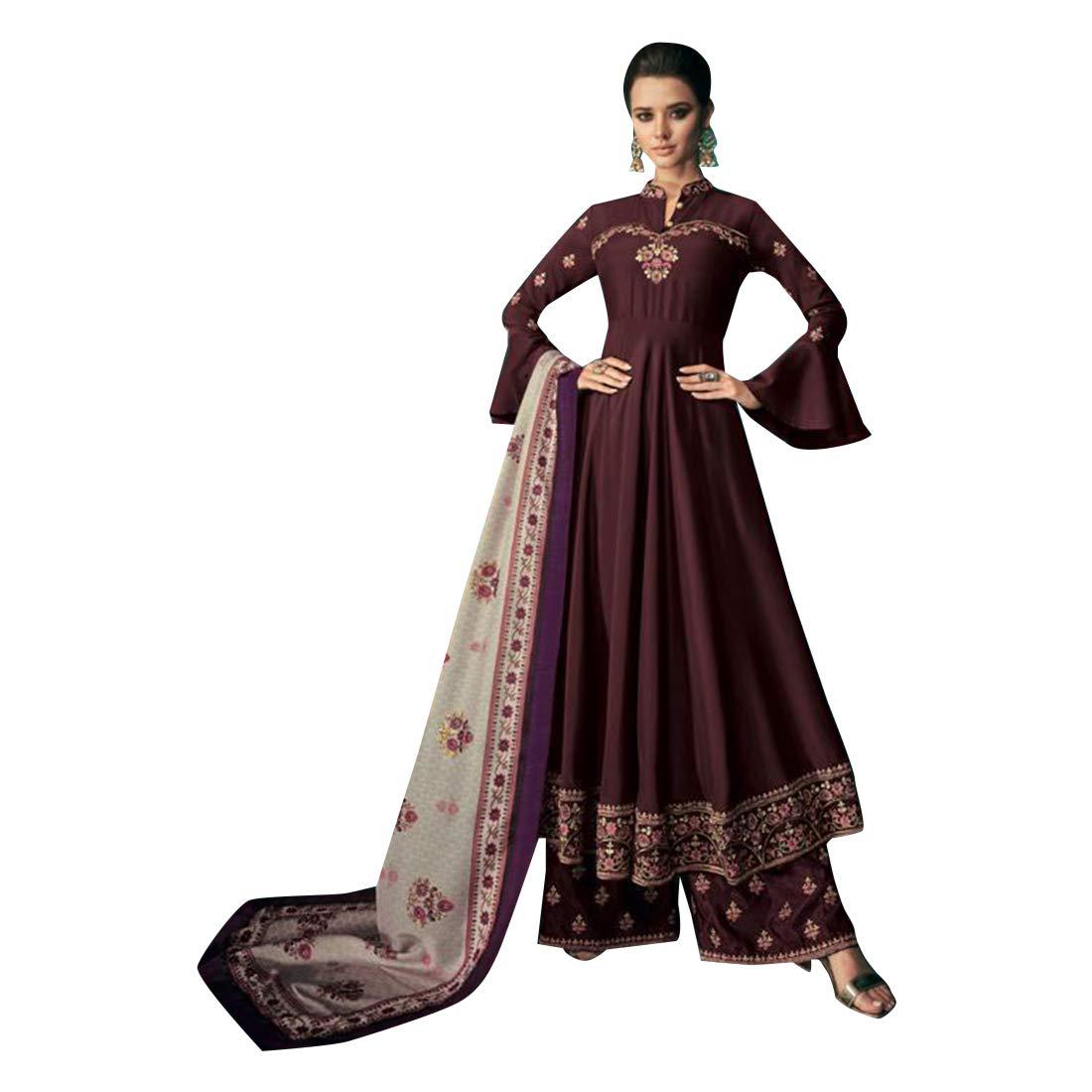 Wine Purple Indian Designer Evening Cocktail dress Heavy Maslin Plazo Suit Muslim Women Party wear 7868