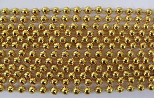 33 inch 07mm Round Metallic Gold Mardi Gras Beads - 6 Dozen