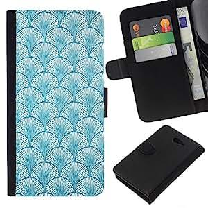 Planetar® Modelo colorido cuero carpeta tirón caso cubierta piel Holster Funda protección Para Sony Xperia M2 / M2 dual ( Pattern Baby Blue Colors Wallpaper )