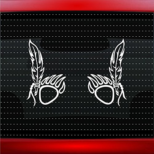 Bear Paw #14 Pair Indian Native American Car Sticker Truck Window Vinyl Decal COLOR: WHITE]()