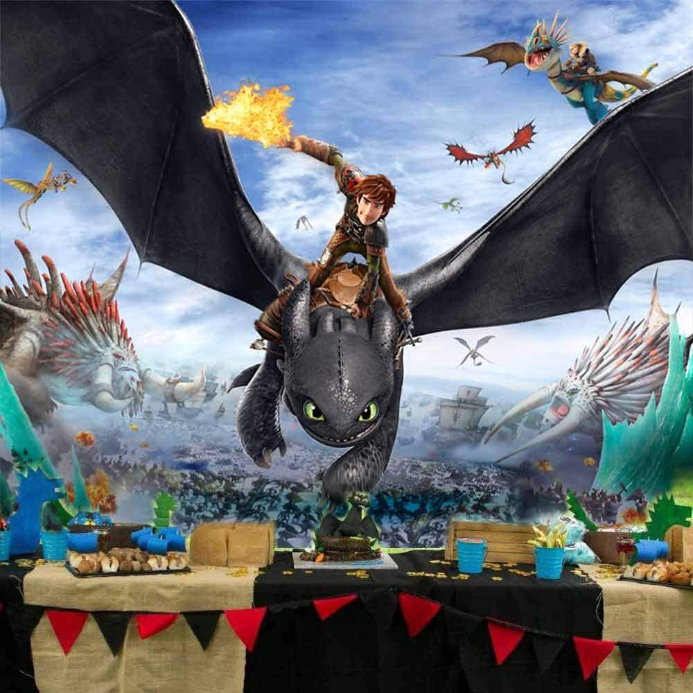 Details about  /How to train your dragon backdrop birthday backdrop 5ft x 7ft free post
