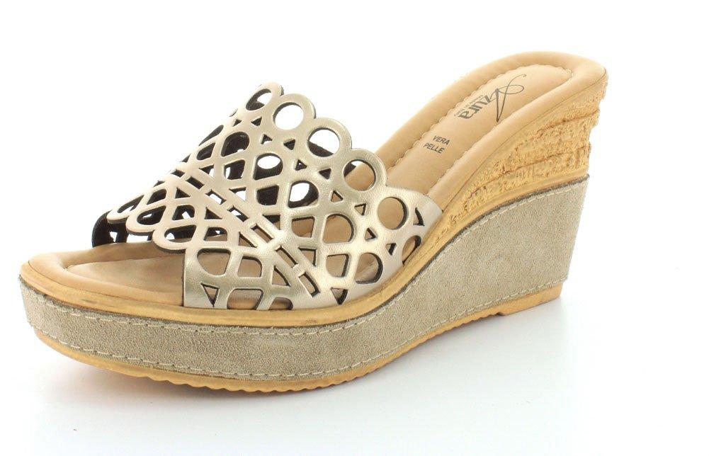 Azura Women's Polidor Slides Wedge Durable Sandals B00PBVZVOI 39 M EU|Soft Gold