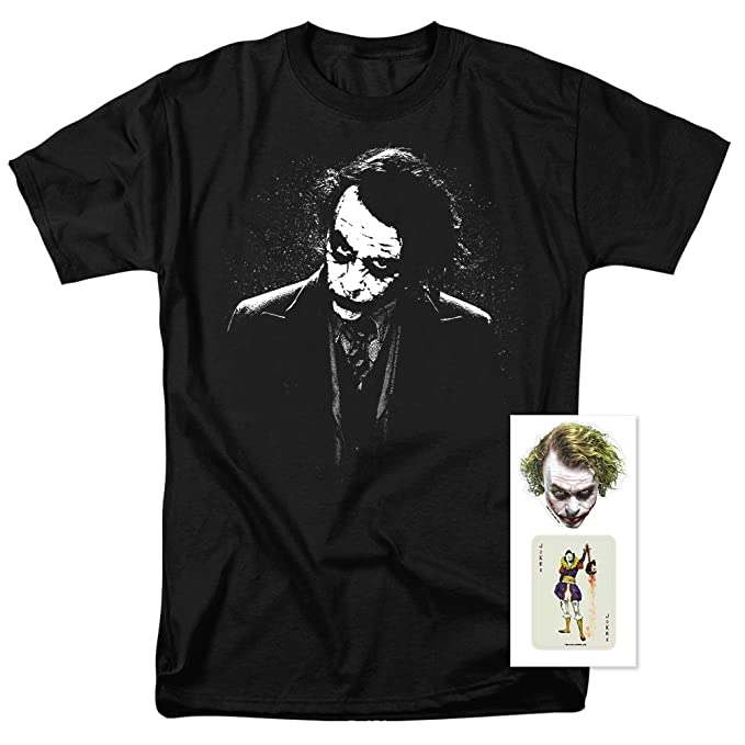 adb1bb2ad Popfunk The Dark Knight Heath Ledger Dark Joker T Shirts & Exclusive  Stickers (Small)