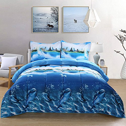 - 7 Piece Set Goose Down Alternative Comforter 3D Dolphin Print Wrinkle,Fade Resistant Egyptian Cotton Quality Ultra Soft Matching 4-Piece Bed Sheet Set ,Flat and Fitted Sheet Pillow Case Queen