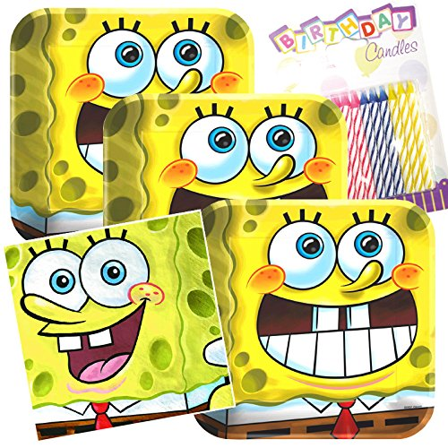 Lobyn Value Pack Spongebob Classic Party Plates and Napkins Serves 16 With Birthday Candles -