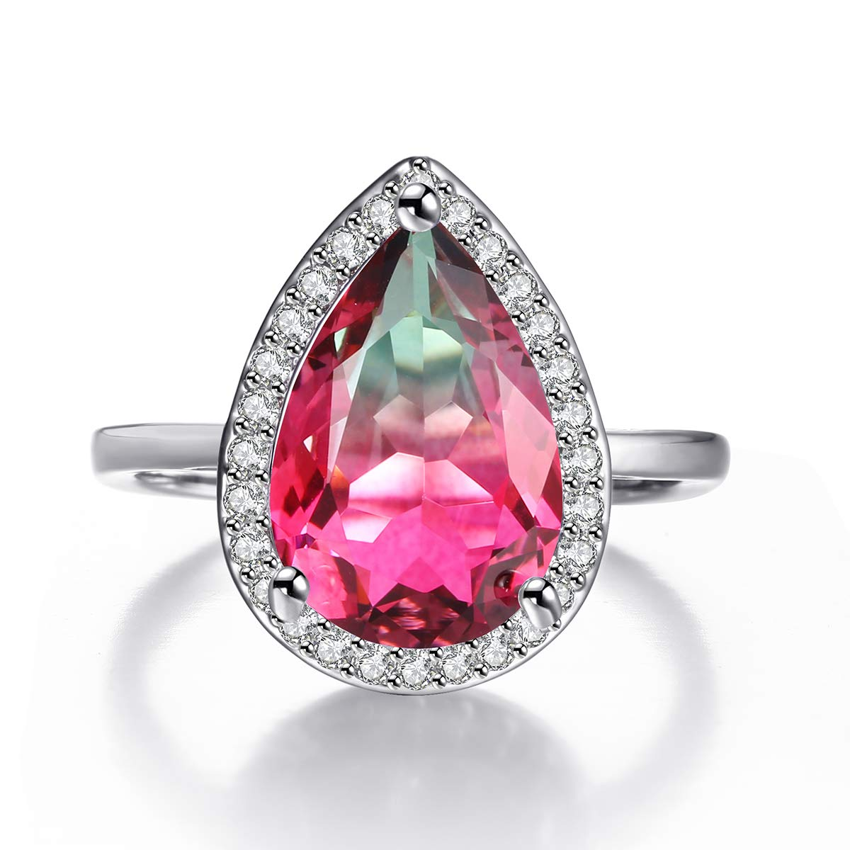 Teardrop Rings for Women Pear Cut Simulated Citrine Ametrine Watermelon Crystal Micro Cubic Zirconia Halo Style Rhodium Plated Ring Size 5-10 Shengtai ST594Z-QZ