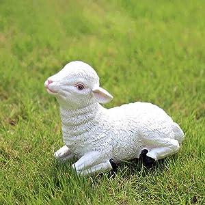 weiwei Outdoor Lamb Statue Garden Farm Baby Sheep Sculpture Decorative Animal Figure Farmhouse Decor D 17x8x14cm (7x3x6inch)