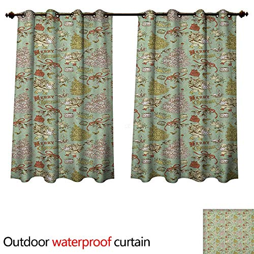 Anshesix Christmas Outdoor Balcony Privacy Curtain Vintage Old Xmas Tree Santa Claus Deer Nordic Mistletoe Image W72 x L63(183cm x 160cm)