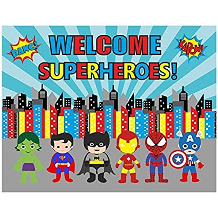 Party Propz Superhero Theme Backdrop 4Ft 6Ft For Birthday Decoration
