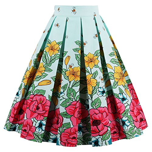 Dressever Women's Vintage A-line Printed Pleated Flared Midi Skirts Flower Bee Large ()