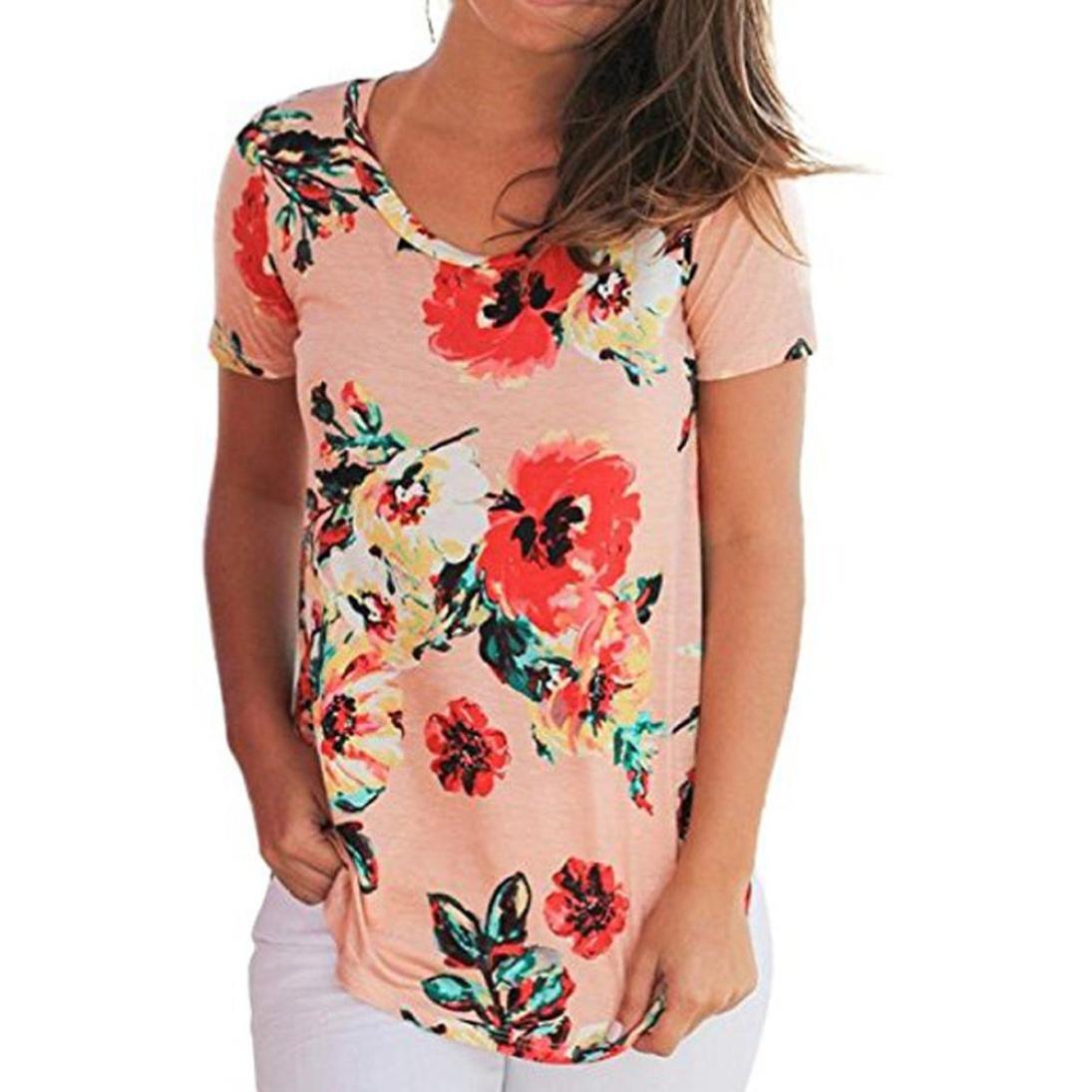 e2193b58d14 Highpot Summer Elegant Women Pink Rose Prints Short Sleeve T-shirt Tops  Blouse at Amazon Women s Clothing store