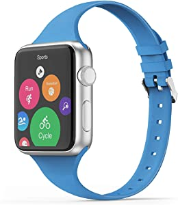 THWALK Sport Band Compatible with Apple Watch 38/40mm 42/44mm Slim Thin Narrow Silicone Replacement Strap with Stainless Steel Buckle Compatible for iWatch SE Series 6/5/4/3/2/1(Surf Blue, 42/44mm)