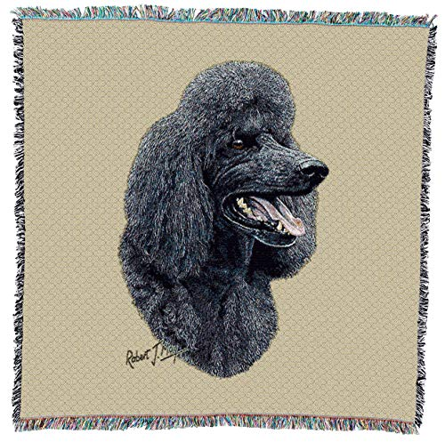 Pure Country Weavers - Poodle Black Woven Throw Blanket with Fringe Cotton. USA Size 54x54