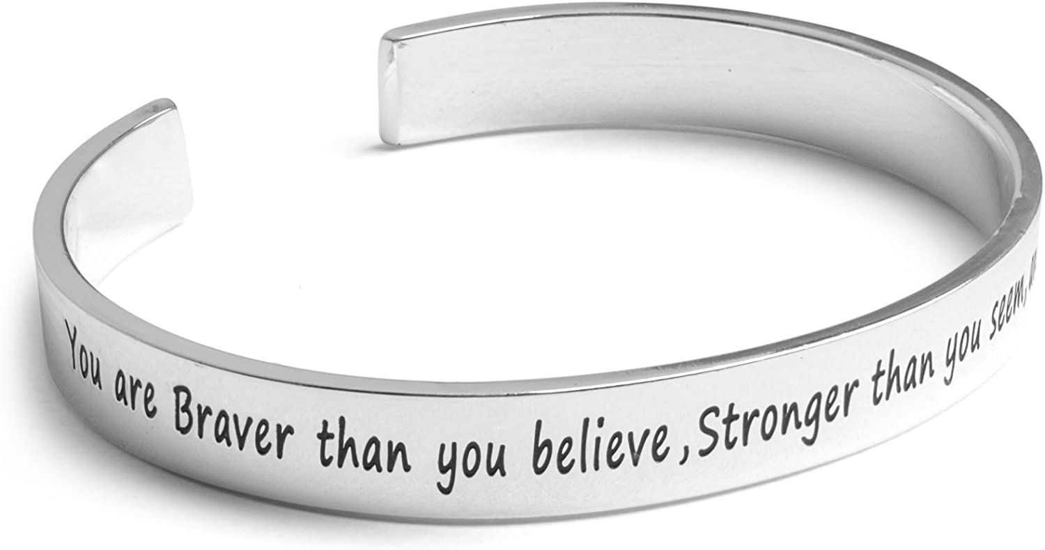 Inspirational Jewelry Bracelet Teens Motivation for Women He Believed He Could So He Did Quote Men Engraved Sayings for Inspiration Girls. Silver Charm Wrap