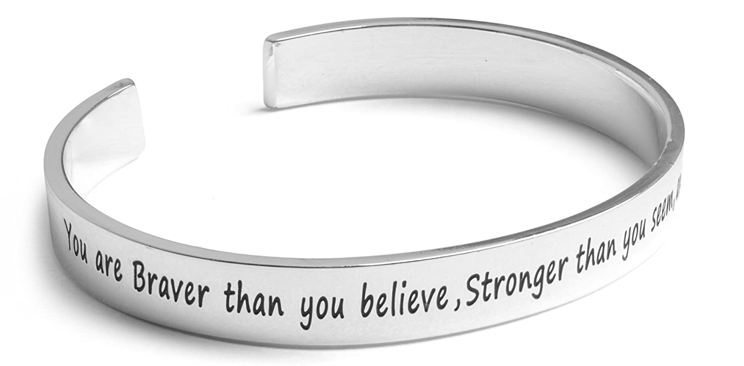 "Inspirational Silver Cuff Bracelet – Stamped ""You Are Braver & Stronger Than You Think"" Jewelry for Women, Teens, Girls – Motivational Quotes Mantra Band Bracelets – Perfect Gift Charming Life Creations B01LXGGR5R_US"