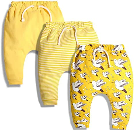 CuteOn 3 Packung Unisex Kinder Kleinkind Harem Hose Baumwolle Elastisch Trousers