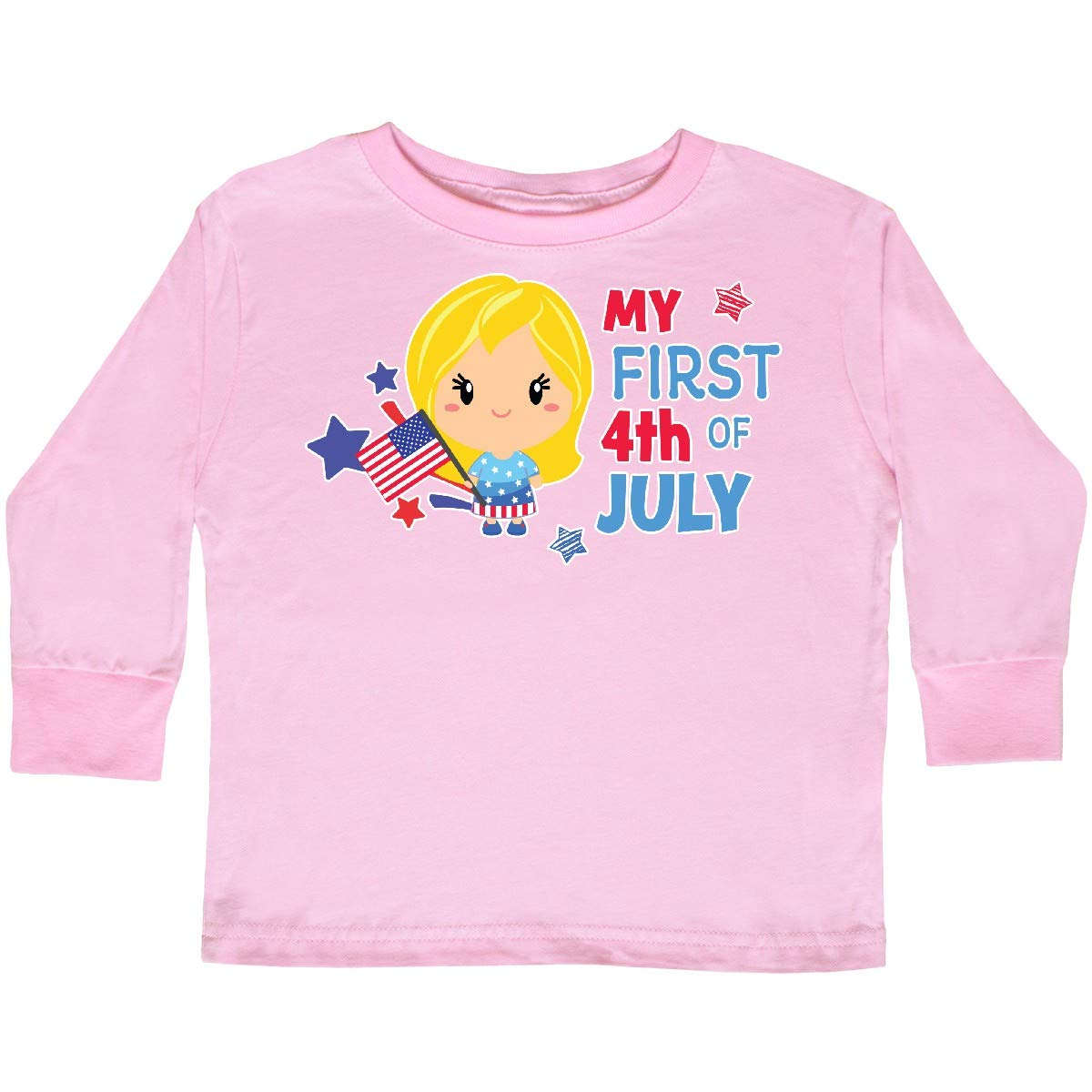 inktastic My First 4th of July with Blonde Haired Toddler Long Sleeve T-Shirt