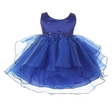 7b76d3a619c Chic Baby Girls Royal Blue Organza Embellished Waist Flower Girl Dress 24M   Amazon.co.uk  Clothing