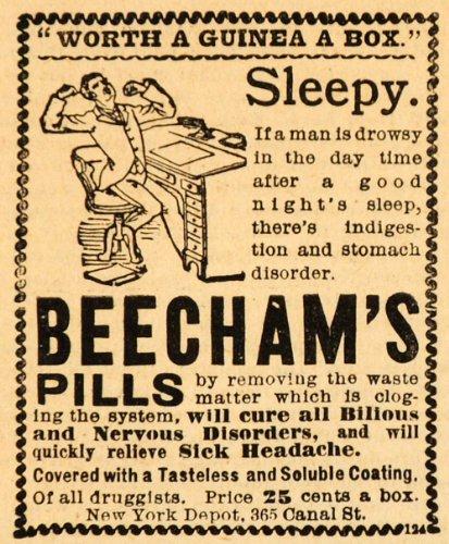1893 Ad New York Depot Beecham's Nerves Headache Pills Medical Indigestion Price - Original Print - Canal Street 365