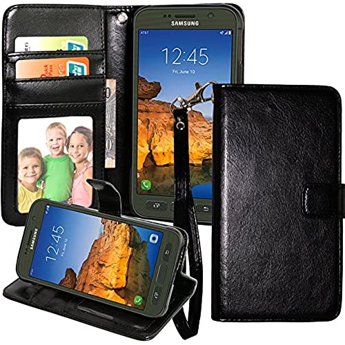 S7 Active Case, Galaxy S7 Active Case, Harryshell(TM) Luxury Wallet PU Leather Flip Stand Case Cover with Card Slots & Wrist Strap for Samsung Galaxy S7 Active (Black) Sales