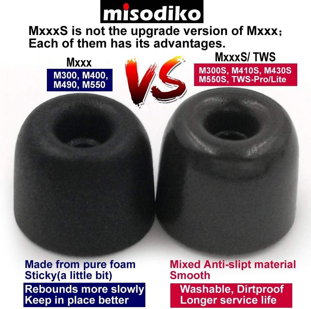 misodiko M410S Memory Foam Earbuds Tips for RHA MA390 MA600 MA650 MA750 T10i T20i// Sennheiser Momentum in Ear CX 3.00 5.00i// Beoplay H3 H5 E4 E6// Sony 3-Pairs, Small Replacement Earphones Eartips