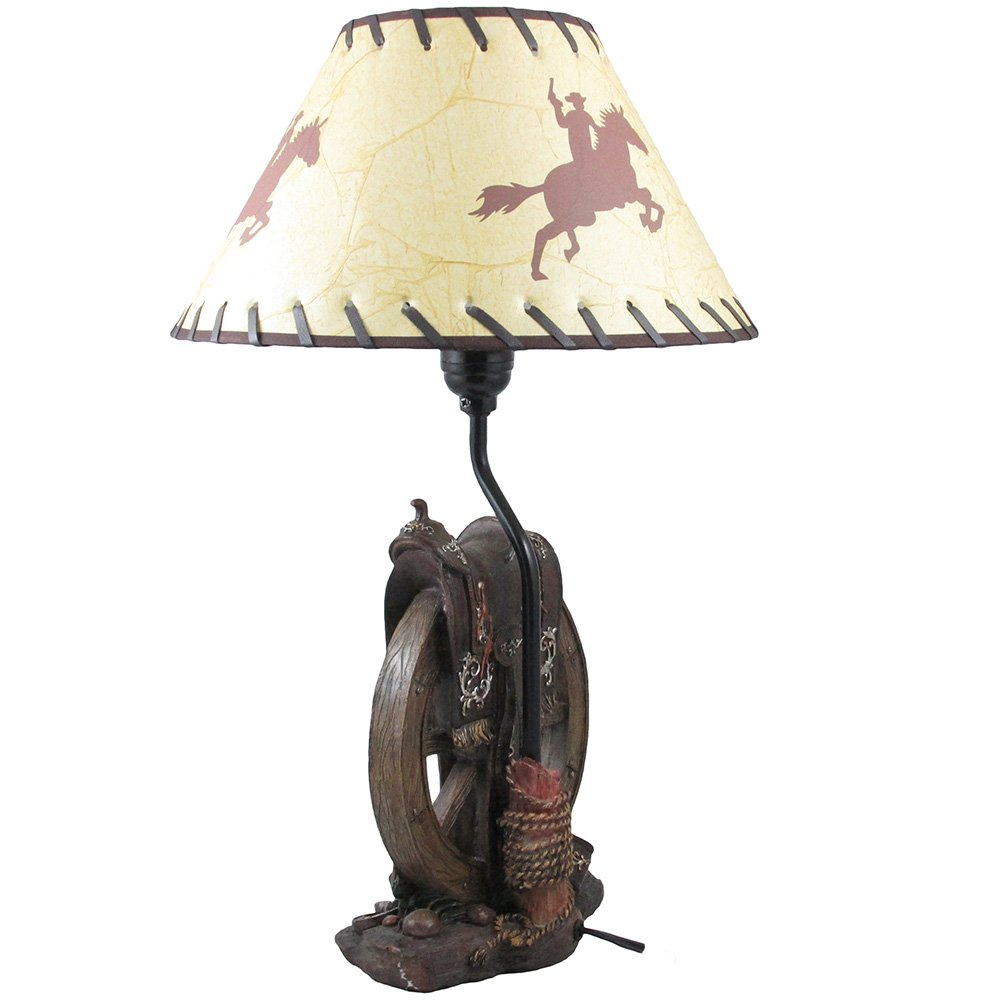 Horse saddle on wagon wheel desktop or table lamp in gifts for horse saddle on wagon wheel desktop or table lamp in gifts for cowboys and western home decor accents amazon aloadofball Images