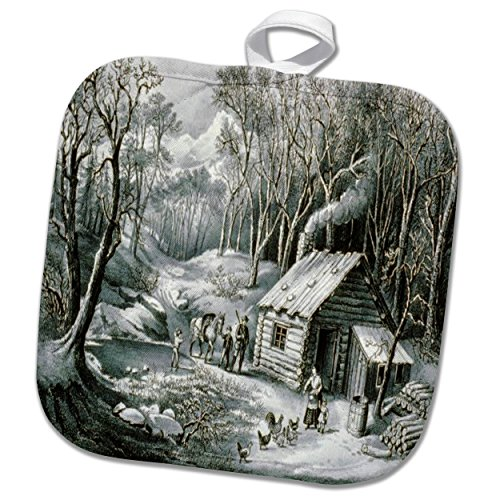 3dRose TDSwhite – Christmas Holidays Xmas - Vintage Currier and Ives Wilderness Log Cabin Woods - 8x8 Potholder (phl_285084_1) by 3dRose (Image #2)