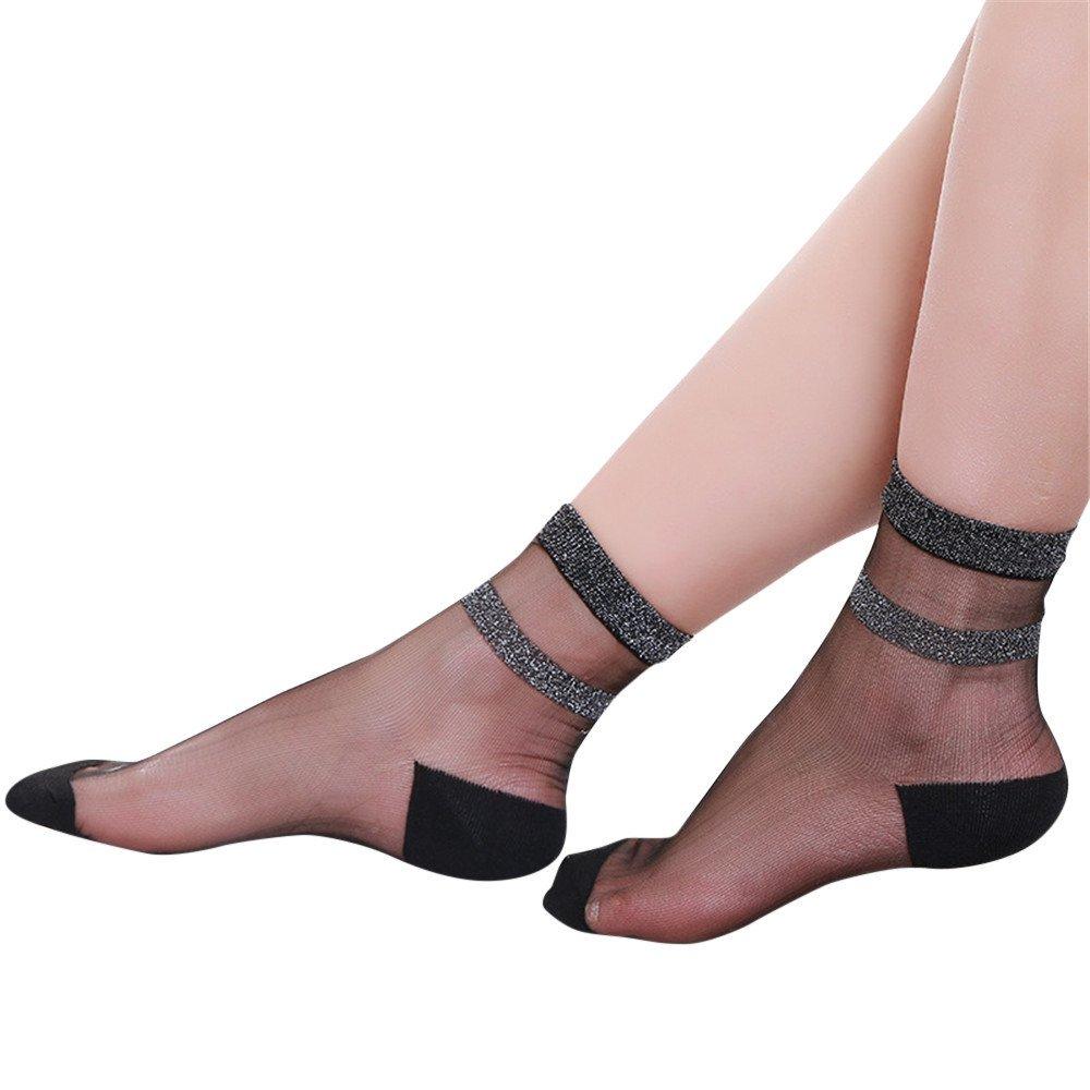 Hengshikeji Women Socks Summer Ladies Sheer Silky Glitter Transparent Short Stockings Breathable Ankle Socks